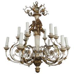 Italian Twelve-Light Rococo Style Cherub Chandelier