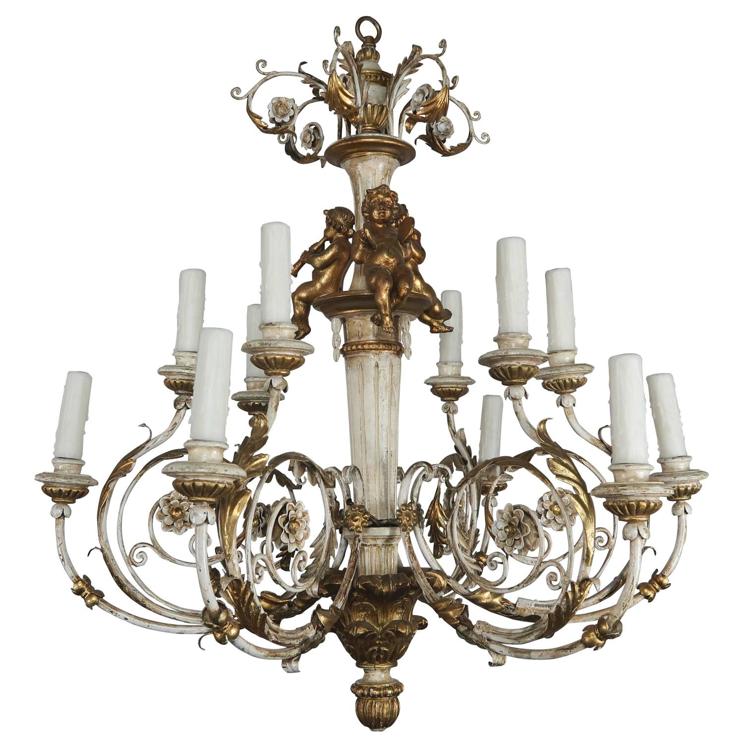 Italian Twelve Light Rococo Style Cherub Chandelier For Sale at