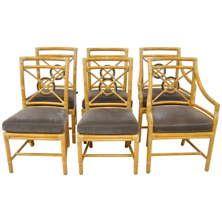 Genial Set Of Six Target Back Rattan Chairs By McGuire For Sale
