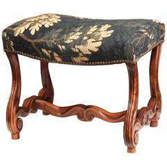 Early 19th Century French Louis XIII Carved Walnut Stool with Aubusson Tapestry