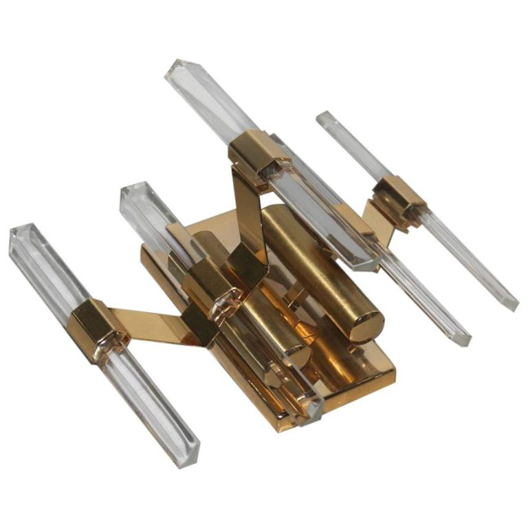 Sciolari Sconce Minimal Design Gilt Brass