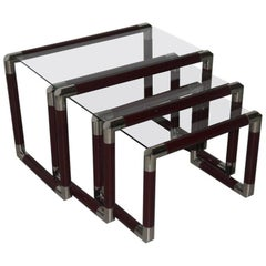 Triptych Nesting Tables 1960 Italian Design Lacquered Metal Chrome