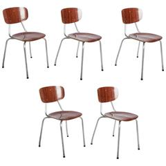 Set of Five Stockable Mid-Century Chairs