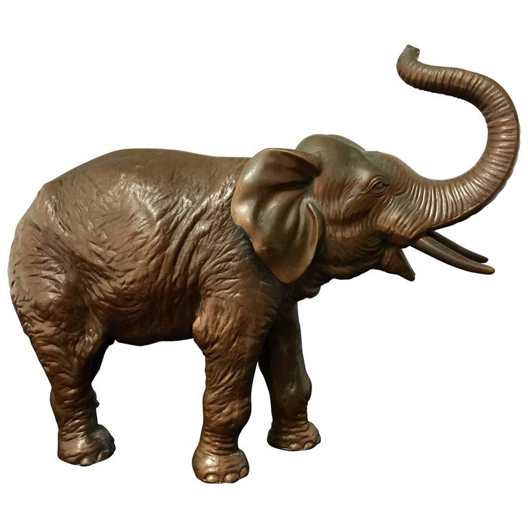 Beautiful Antique Bronze Elephant Sculpture by Jennings Brothers For Sale