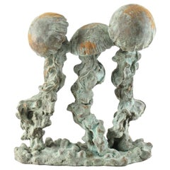 Cast Stone and Bronze Jellyfish Sculpture by Listed Artist Attila Tivadar