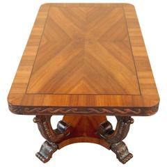 Swedish Art Deco Era Coffee Table with Sunburst Walnut Top, circa 1930