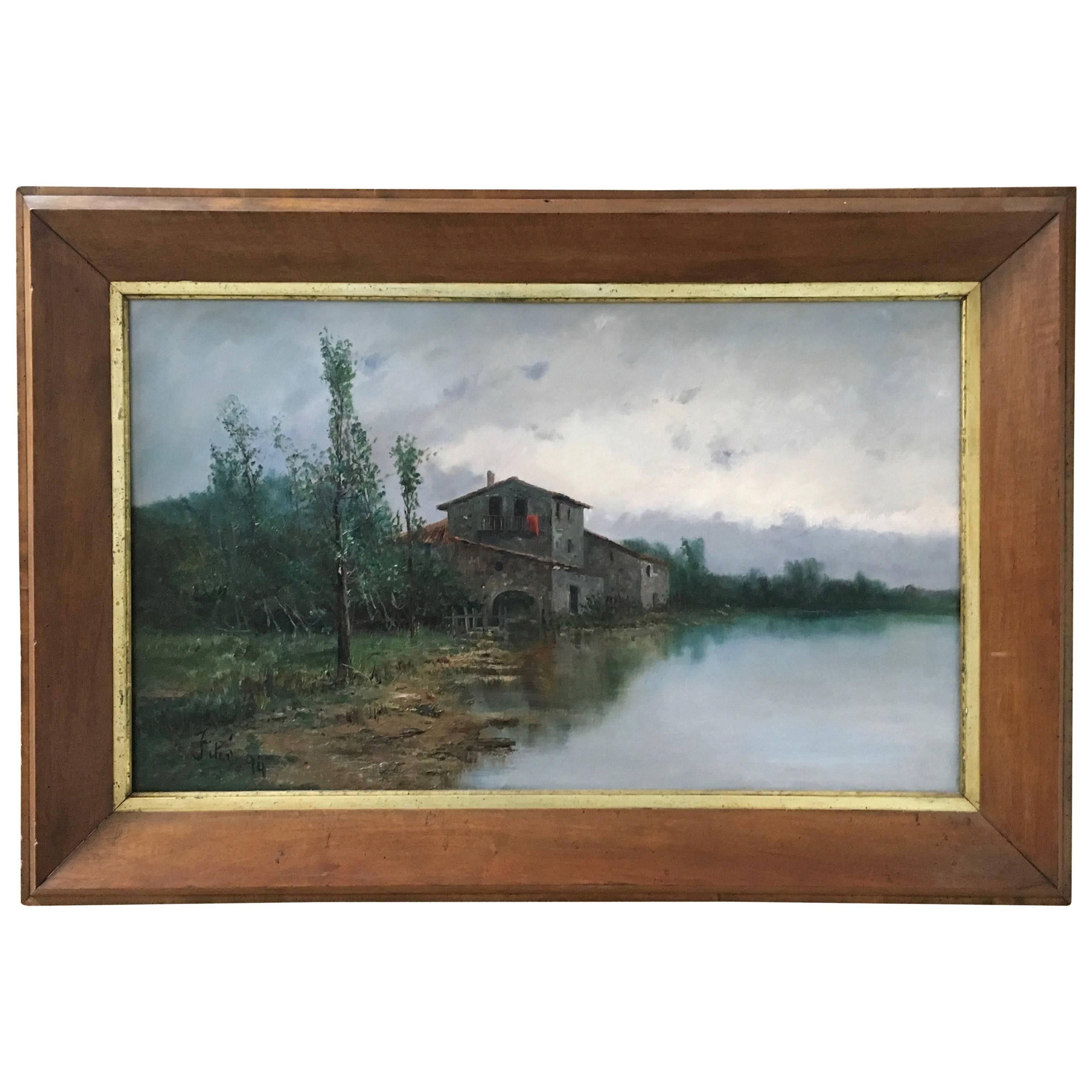 19th Century Lake House Oil on Canvas Painting