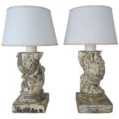 19th Century Italian Capital Fragment Lamps w/ Linen Shades, Pair