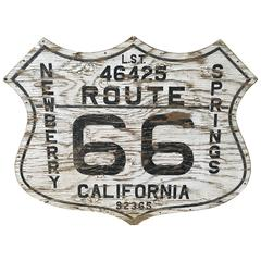Hand-Painted Folk Art Route 66 Sign
