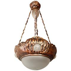 Swedish Victorian Copper Hanging Fixture with Floral Motifs, circa 1900