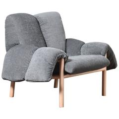 European Modern Loose Upholstery and Timber Violet Armchair