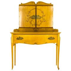 Wonderful Antique Tiger Maple Vanity, Dresser, Three Bevelled Mirrors, 1920
