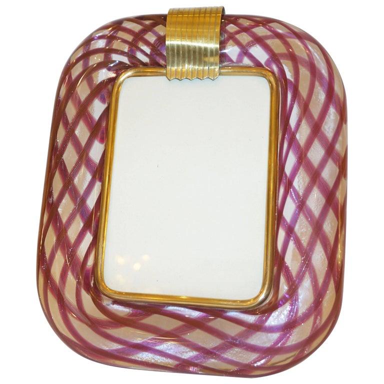 Venini 1970 Vintage Purple Blue Fuchsia Copper Gold Murano Glass Picture Frame