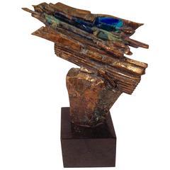 Rare Edris Eckhardt Bronze and Glass Sculpture, 1982
