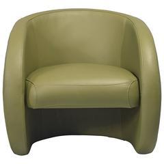 European Modern Organic Olive Leather Armchair