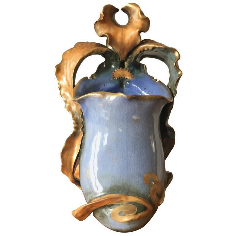 Paul Dachsel Amphora Earthenware Art Nouveau Orchid Vase Hand-Painted