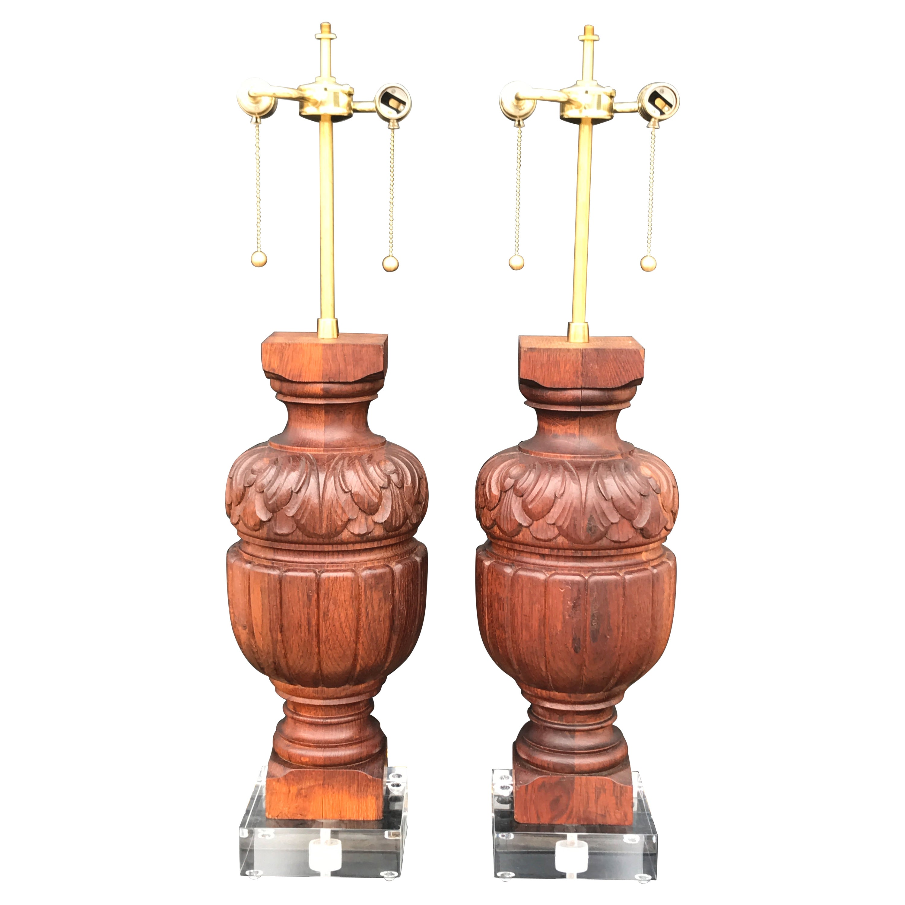 Pair of Architectural Baluster Fragments Mounted as Lamps