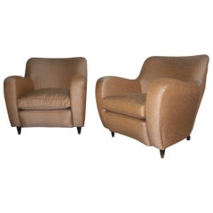 Italian Armchairs Paolo Buffa Attributed Design, 1950s Brown