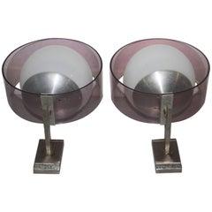 Pair Of Stilux Wall Sconces Plexiglass Aluminum Glass Mid-Century Modern Design