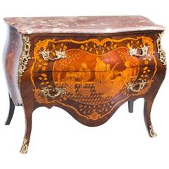 19th Century French Louis XV Revival Marquetry Commode Chest