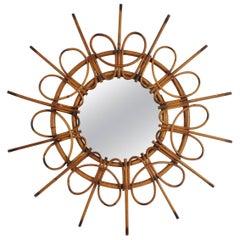 Rare 1960s Spanish Rattan Sunburst Mirror with Loops Frame