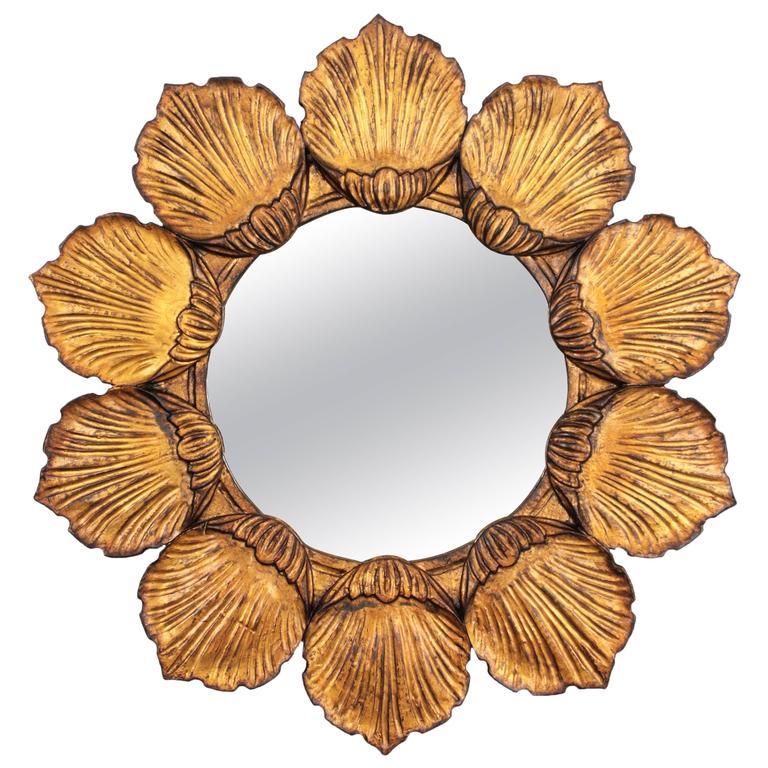 Hollywood Regency Giltwood Carved Flower Sunburst  Mirror, France 1950s