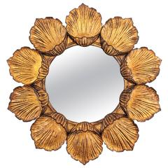 Hollywood Regency Giltwood Carved Flower Sunburst  Mirror, France 1950s