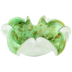 Fratelli Toso Mint Green and White Murano Glass Flower Bowl with Copper Flecks