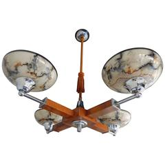 Swedish Mid-Century Modern Hanging Fixture in Wood, Chrome and Glass