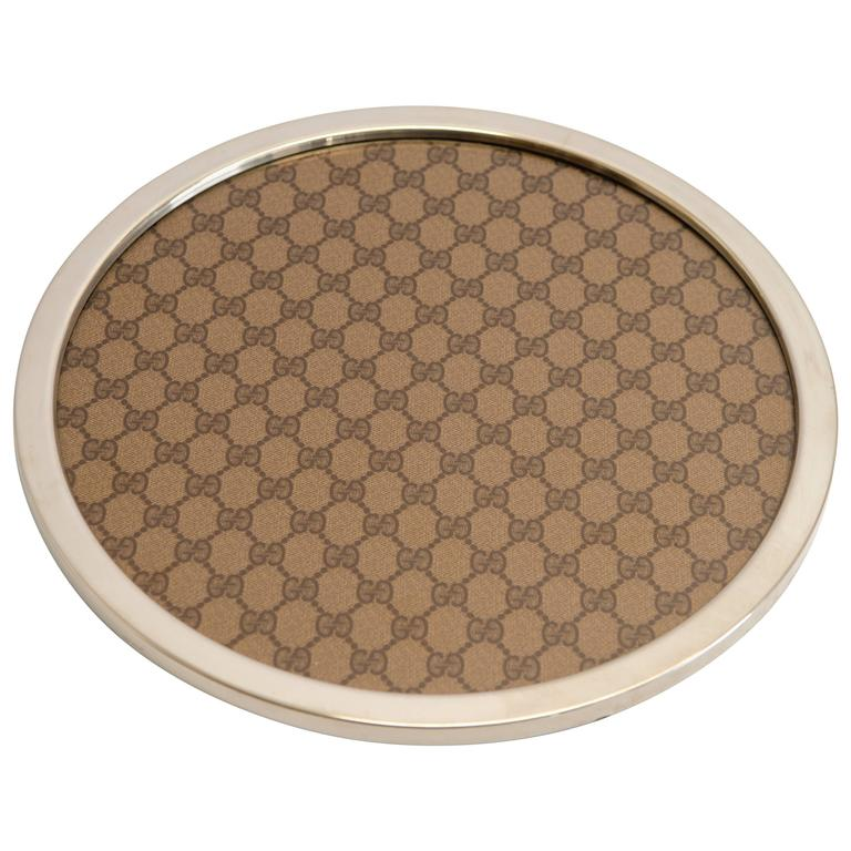 Gucci Serving Plate in Plexiglass, Fabric with Chromed Rim