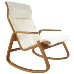 Ingmar Relling for Westnofa of Norway Danish Modern Rocking Chair in Cowhide