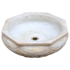 19th Century English Carved Marble Basin