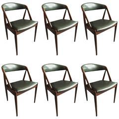 Kai Kristiansen Dining Chairs, Set of Six, New Italian Leather Upholstery