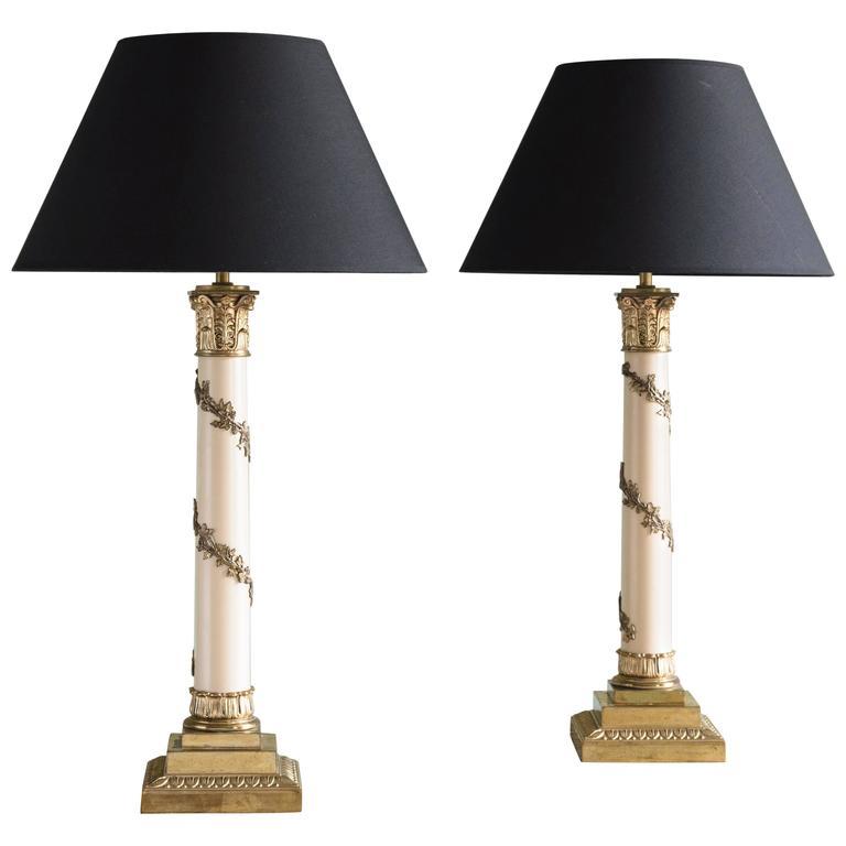 Pair of Corinthian Column Table Lamps