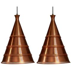 Knud Hjerting Pair of Model p208 Copper Pendants for Lyfa, Denmark, 1960s