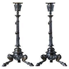 French Bronze Candlesticks