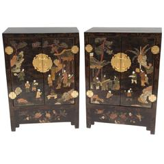 Pair of Lacquered Nightstands with Hard Stones Inlays, circa 1900