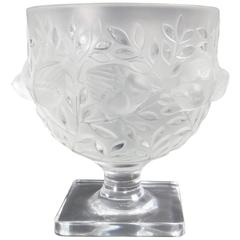 Lalique Elisabeth Satin and Clear Crystal Vase Portraying Birds in Branches