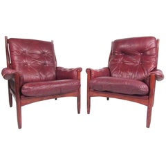 Pair Danish Leather Lounge Chairs
