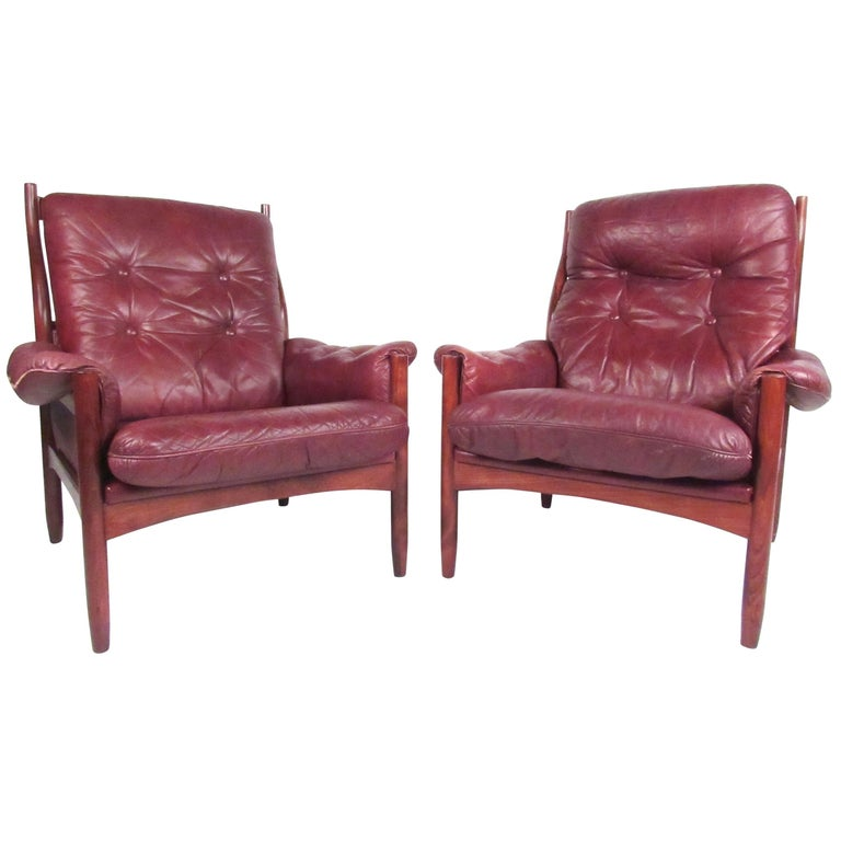 Pair Danish Leather Lounge Chairs For Sale