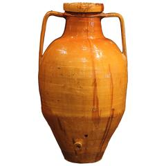 Large 19th Century Italian Yellow Terracotta Olive Jar with Spout and Handles