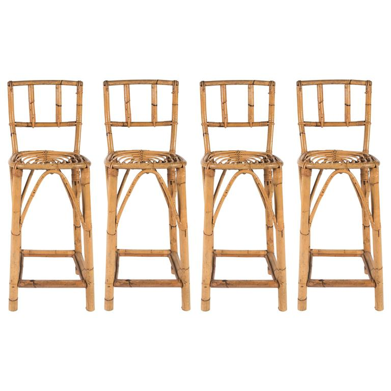 Set Of Four Mid Century Rattan Counter Stools For Sale At