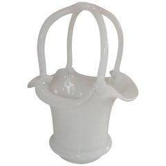 Wonderful Large Opaline Handle Flower Basket Form Vase Centrepiece