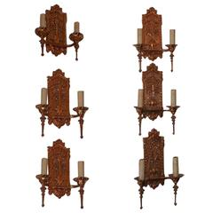 Set of Six English Bronze Coat of Arms and Floral Motif Sconces, circa 1840