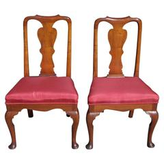 Pair of American Burl Walnut Queen Anne Side Chairs, Pa. Circa 1740