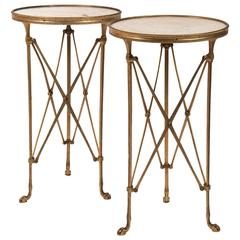 Pair of Bronze Pedestals, Top Marble