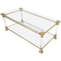 Crystal, Plexiglass and Brass Coffee Table, Italy, 1980s