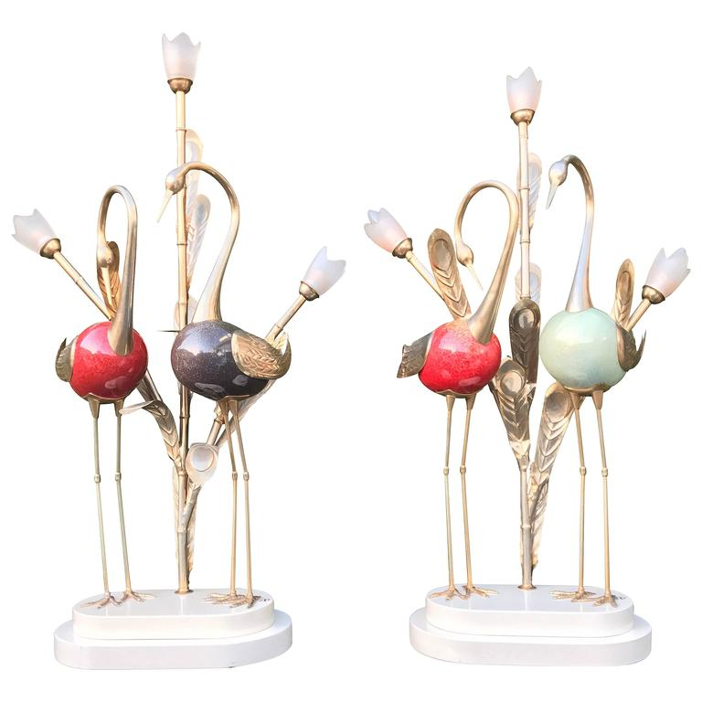 Stunning Antonio Pavia Pair of Metal Crane Table or Floor or Table Lamps