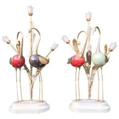 Stunning Midcentury Antonio Pavia Pair of Metal Crane Table or Floor or Lamps