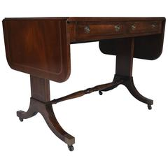 Antique English Mahogany Drop Leaf Sofa Table 2875 Handmade Bespoke Oak Cross Banded